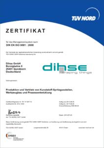 TÜV-Zertifikat für den Spritzguss Hersteller Dihse